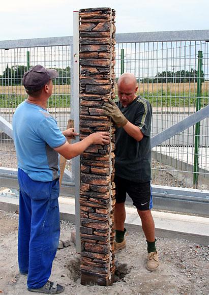 корректировка столбов по вертикали
