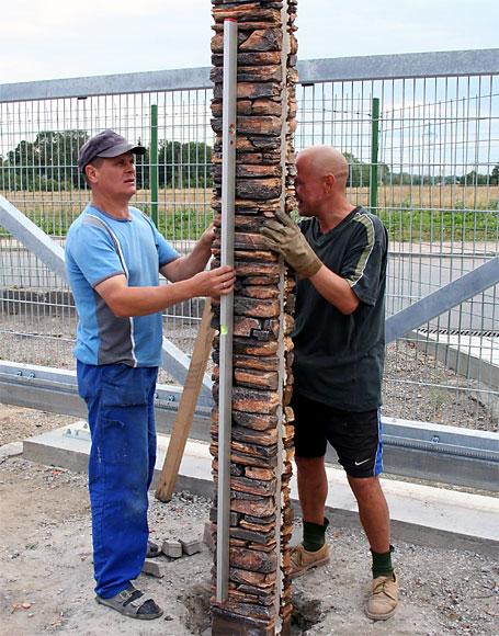 корректировка столбов по вертикал